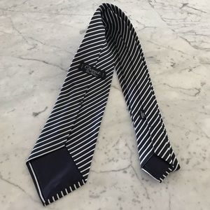 Charvet dark blue and white striped silk tie